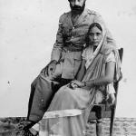Sikh soldier and his wife. Photographed early 1930's, Punjab