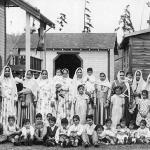 Women & children at a Sikh owned lumber company.Photographed 1938, British Columbia