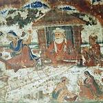 Rare fresco Bhagat Kabir weaving at his traditional khaddi and Mai Loi spinning. Once adored Akal Takht walls, but destroyed whe