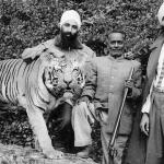 Proud Hunters and their stuffed trophy. Photographed 1960, Punjab