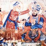 Baba Buddha places a tikka (a mark of distinction) on the forehead of Guru Arjan Dev, pronouncing him the fifth Guru. Guru Ram D