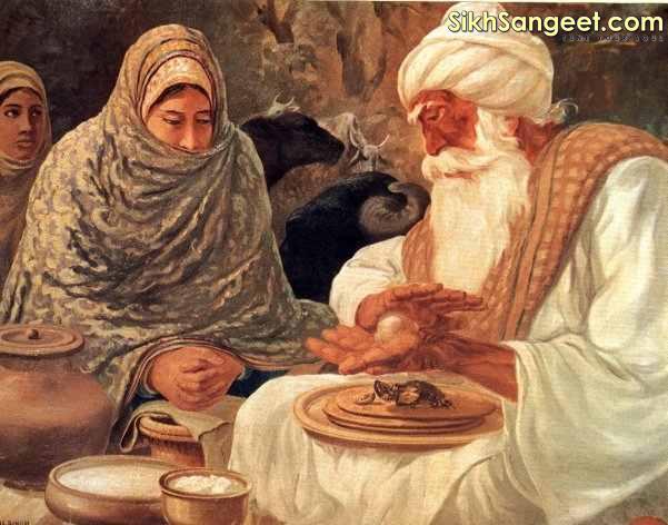 Baba Ji broke an onion and predicted to Mata Ganga (Guru Arjan's wife) that she will have a son who will break the heads of the