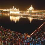 Bird View into Golden  Temple on Diwali Night