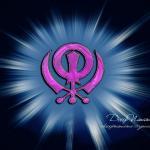 Pink khanda with rays