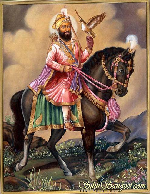 Guru gobind singh is riding horse
