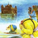 Shaheed Baba Deep Singh jee laying rest at Harimandir Sahib.JPG
