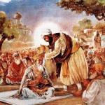 Guru Angad Dev Ji blessing Amar Das Ji with a saropa