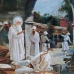 Bhai Handal bowing to Guru Amardas Ji