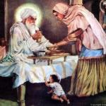 Bibi Bhani ji serving food to Guru Amardas ji, while