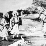 Guru Amardas Ji showing Guru Ramdas Ji the place for