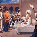 The Emperor Akbar paying homeage to Guru Amar Das Ji