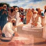 Baba Bhudda Ji sits on a platform while Saint Mian Mir Ji lays the foundation stone of Harminder Sahib