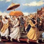 Guru Arjan Dev Ji helping take Guru Granth Sahib Ji