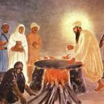 Guru Arjan Dev Ji Maharaj sitting on hot cauldron