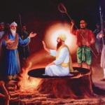 Guru Arjan Dev Ji on hot cauldron with hot sand poured on him