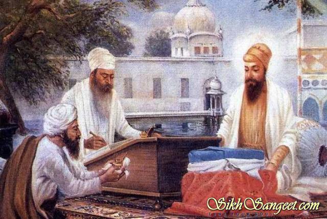 Satguru Arjan Dev Ji Maharaj creating Adi Granth