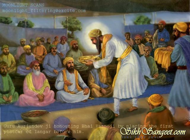 Guru Arjan Dev ji honoring Bhai Banno ji by placing langar in front of him