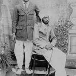A young aristocrat and his Muslim friend. Photographed early 1900's, Punjab