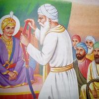 Baba Budha ji giving miri piri to Guru Hargobind Ji