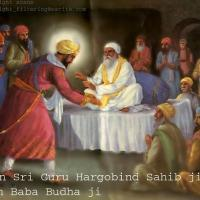 Baba Budha (after having premonition of death) and Guru Hargobind in Ramdas village