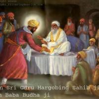 Baba Budha (after having premonition of death) and Guru Hargobind in Ramdas village