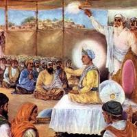 Guru Harkrishan sahib Ji discoursing on the Holy Word in congregation.jpg