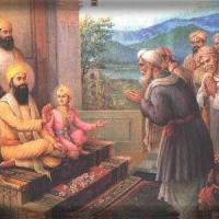 Pundit Kirpa Ram and a deputation from Kashmir appeal to Guru Tegh Bahadur Ji to save them_jpg.jpg