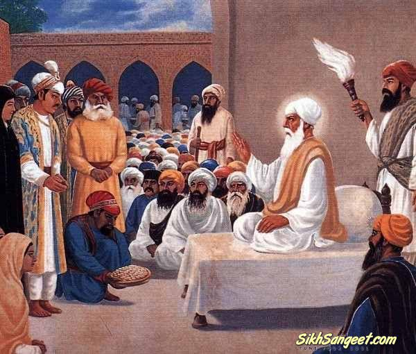 The Emperor Akbar paying homeage to Guru Amar Das Ji