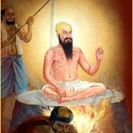 Guru Arjun with Mughals pouring hot sand
