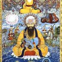 Guru Arjan being spiritually enlightened by Guru Nanak