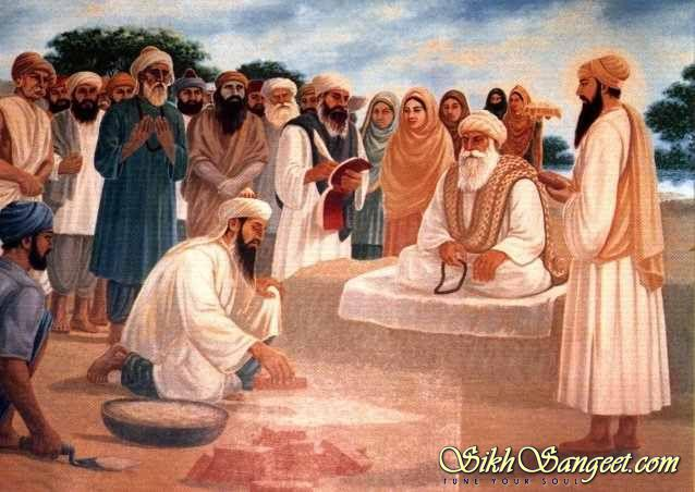 Baba Bhudda Ji sits on a platform while Saint Mian Mir Ji lays the foundation stone of Harminder Sahib