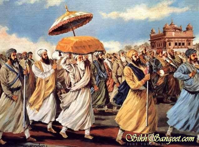 Guru Arjan Dev Ji helping take Guru Granth Sahib Ji