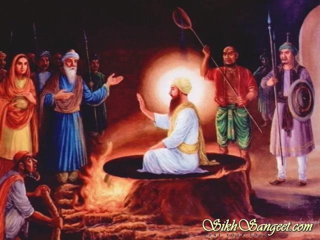 Guru Arjan Dev Ji on hot cauldron with hot sand poured on him