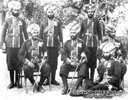 Officers of the 36th Sikh Infantry in full dress including steel chakars on turbans 1901